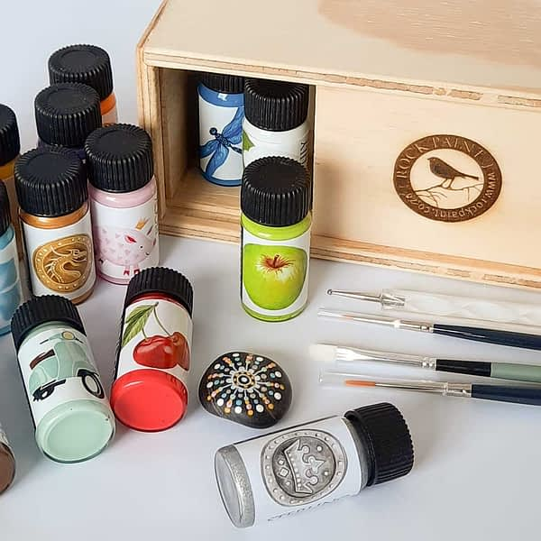 wooden box with paints