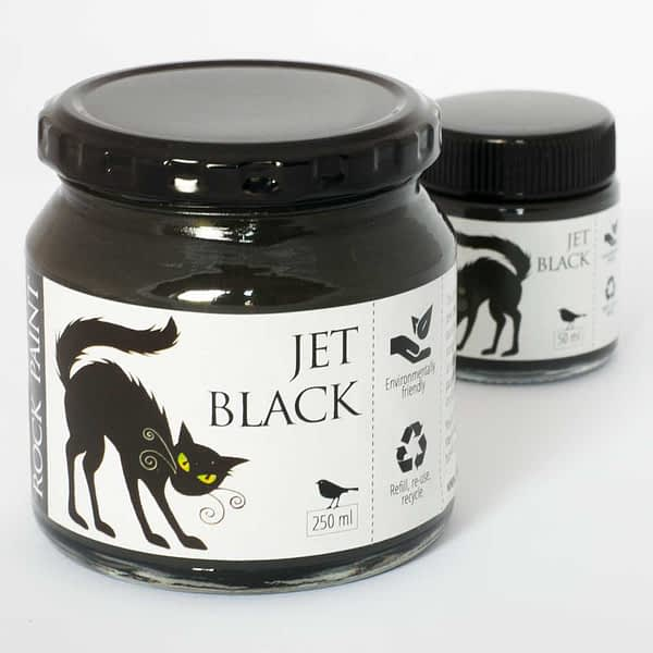 Jet Black craft paint made by Rockpaint 250ml